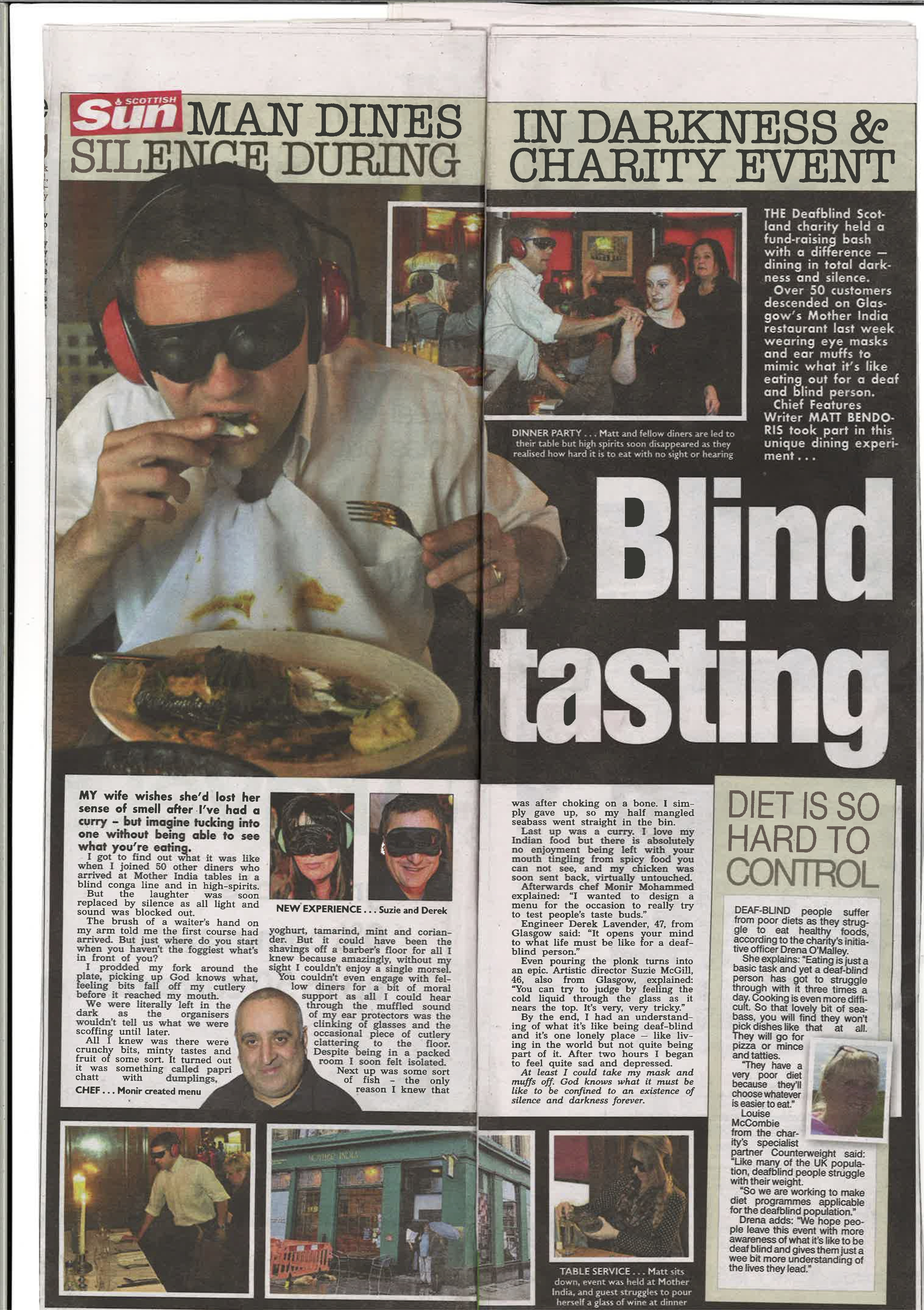 Dining in darkness in deafening silence article
